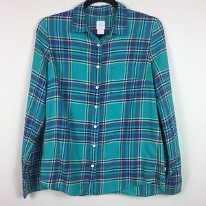 J. Crew Blue Green Plaid Button Down Boy Shirt 4